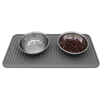Evelots Cat/Dog Food Mat-Silicone-NonSlip-Waterproof-With Rivets-Dishwasher Safe