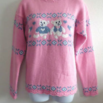 VTG 80s 90s Ugly Cute Pink Teddy Bear Sweater Jumper S Pastel Goth Grunge Kawaii