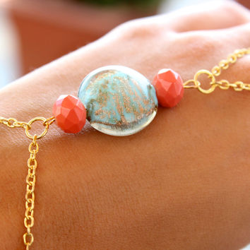 Coral and Light Green Hand jewelry Hand Bracelet Slave Bracelet in Gold