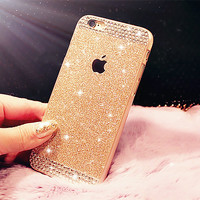 Top Fashion Glitter powder Rhinestone bling phone case for iphone 5 5s luxury diamond clear crystal back cover Sparkle cover