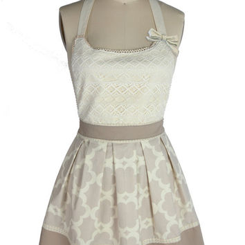 Pleated neutral lace dress-like apron with removable bow