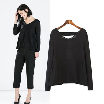 Stylish V-neck Long Sleeve Hollow Out Chiffon Women's Fashion Tops Shirt [5013324292]