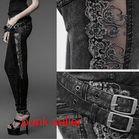 Punk Gothic Heavey Metal Rock Victorian Sexy Lace Tight Women Top Pants Jeans PK028