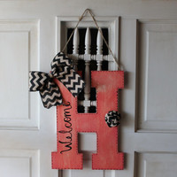 Coral distressed initial door hanger with burlap, door hanger, monogram door hanger, initial, monogram, door decor, welcome wreath
