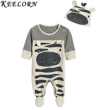 Keelorn 2017 New style baby boys clothes Zebra gray long-sleeved jumpsuit+hat baby suit 70 packets of foot children clothes