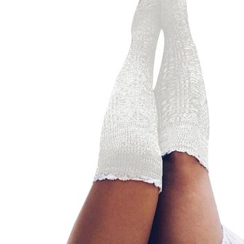 Women Cotton Thigh High Long Stockings Knit Over Knee Socks 17Nov3