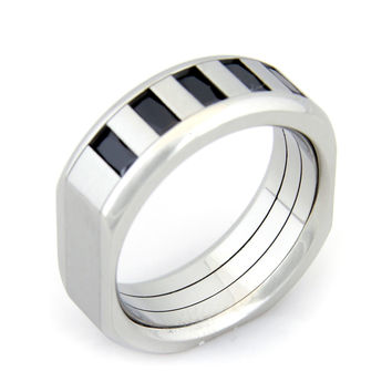 Black Cubic Zirconia Men Stainless Steel Ring 10-13