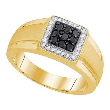 10kt Yellow Gold Men's Round Black Color Enhanced Diamond Square Cluster Ring 3/8 Cttw - FREE Shipping (US/CAN)