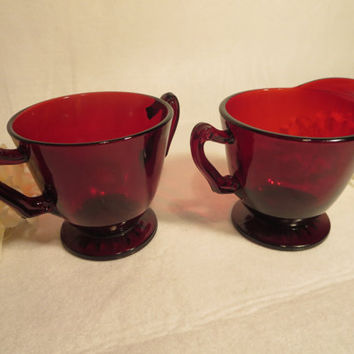 Vintage, Ruby Red, Sugar and Creamer, Depressions Glass, Anchor Hocking, Unique Gifts, Depression Collectors, Coffee and Tea, Kitchen Items