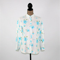 Long Sleeve Linen Shirt Women Tunic Top Button Up Loose Fitting Blouse Small Light Blue White Floral Print Butterfly Vintage Clothing Women