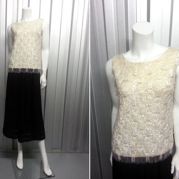 60s Ivory Beaded Top Sequin Shirt 1920s Blouse Art Deco Clothing Party Clothes Flapper Costume Frank Usher Embellished Top Bedazzled 1960s