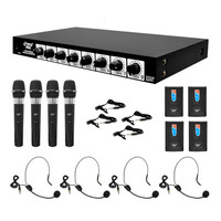 Pyle Rack Mount 8 Channel Wireless Microphone System with 4 Lavalier-Headsets and 4 Handheld Mics