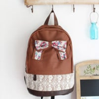 Brown Backpack with Floral Bow and Lace from Jinx Me