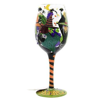 Tabletop CHEERS WITCHES Glass Halloween Love My Wine 6002978