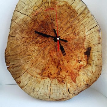 wooden slice clock, wooden clock, wood clock, rustic clock, eko, clock, rustic wood clock, log clock, handmade clock, kitchen clock