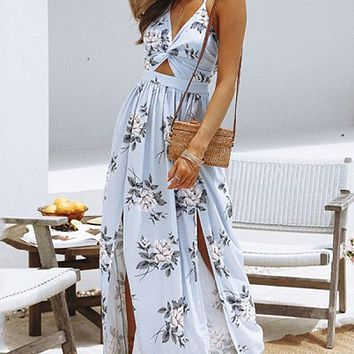 748afda10e4 Sexy Long Beach Dress Women Halter Backless Floral Printed Femal