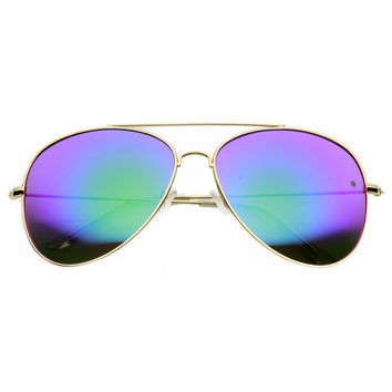 Oversize 62mm Metal Mirror Lens Aviator Sunglasses 9596