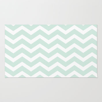 Mint Chevron Pattern Area & Throw Rug by Elle & Me Designs