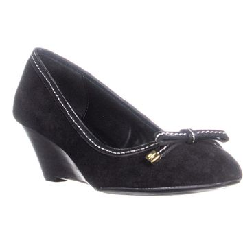 Lauren Ralph Lauren Bernee Wedge Pumps, Black/Black, 7.5 US / 38.5 EU