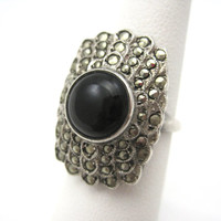 Vintage Art Deco Ring - Sterling Silver and Marcasite - Uncas 1920s