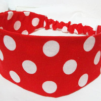 Wide Fabric Headband Reversible Minnie Mouse Inspired Wrap Around Red with White Polka Dots Mickey Mouse