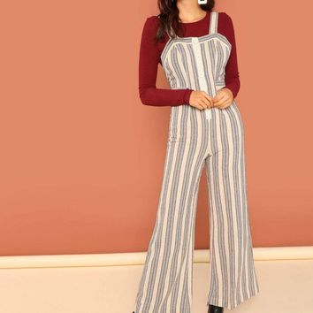 Striped Button Front Lounge Linen Overalls