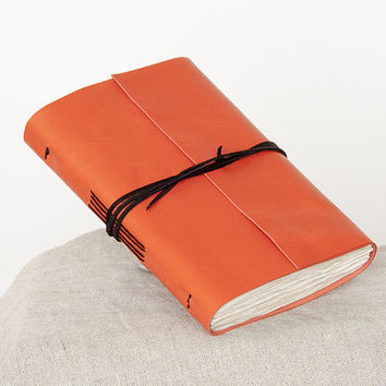 6x4 Leather journal, leather notebook, travel journal, travel notebook, pocket journal, pocket notebook, blank book, hand bound orange