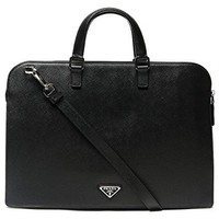 Wiberlux Prada Men's Two-Way Carry Real Leather Zippered Briefcase