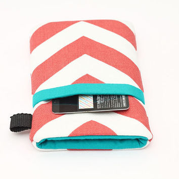 iPhone 5 6 Plus Wallet, Smartphone Sleeve, Cell Phone Case, Samsung Cover, Padded HTC Case, Nokia Lumia Bag  - coral chevron with turquoise