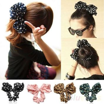 DCCKL3Z 2016 Lovely Big Rabbit Ear Bow Headband Ponytail Holder Hair Tie Band Headwear Korean Style for Women Accessories 8O2U