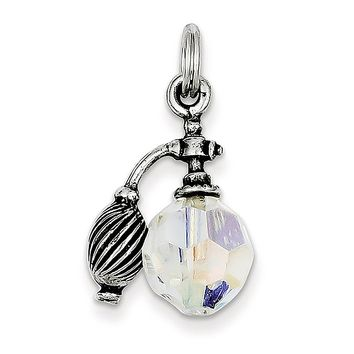 925 Sterling Silver White Glass Antiqued Perfume Bottle Charm Pendant