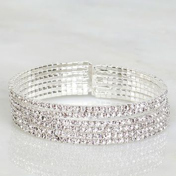 Blinged Out Crystal Bracelet Silver