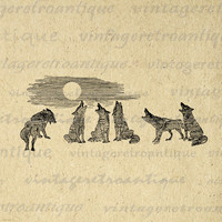 Wolves Howling at the Moon Printable Graphic Image Wolf Illustration Digital Download Artwork Antique Clip Art HQ 300dpi No.1192