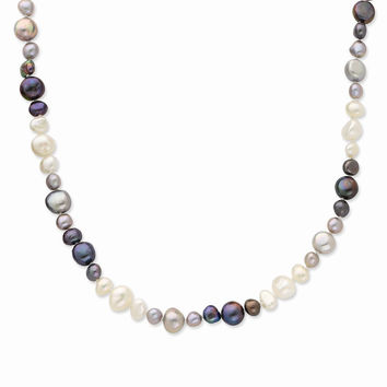 Sterling Silver 36 Inch White/Grey/Black Baroque Fresh Water Cultured Pearl Necklace