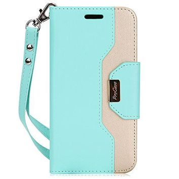 ProCase iPhone X Wallet Case, Flip Kickstand Case with Card Slots Mirror Wristlet, Folding Stand Protective Cover for Apple iPhone X / iPhone 10 (2017 Release) -MintGreen
