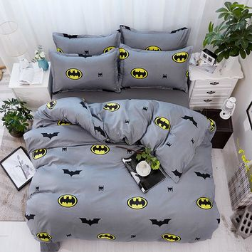 Cartoon Bedding Sets Soft Kids Duvet Cover Set Quilt cover Bed Set Single King Queen Double Bedclothes Batman gray bedclothes