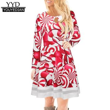 Winter Dress For Women 2017 Fashion Ladies Christmas Dress Long Sleeve O Neck Red Evening Party Tunic Dresses Lady Vestidos*1019