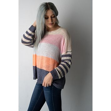 Vivid Bold Stripe Colorblock Sweater