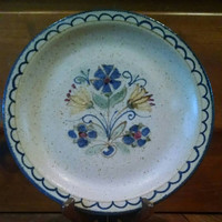 Vintage Berkshire Pottery Stoneware Plate Hand Painted with Yellow and Blue Flowers