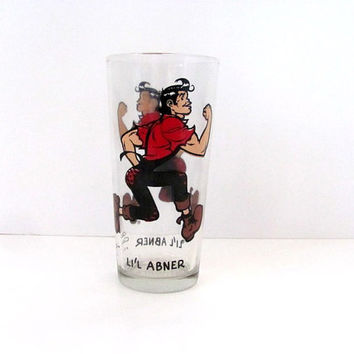 vintage Daisy AL CAPP Lil Abner 16oz tall Brockway Glasses // 1975 comic strip cup