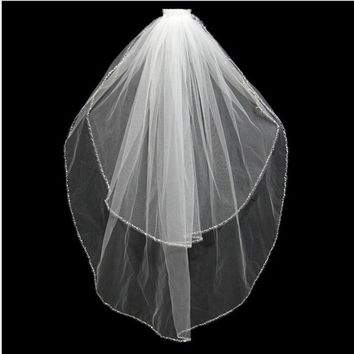 White Ivory Bridal Veils Beaded Edge Wedding Veils Cheap 2017 With Comb Two Layer Tulle Bridal Veil  Wedding Accessories