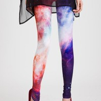 Galaxy Print Leggings in Red
