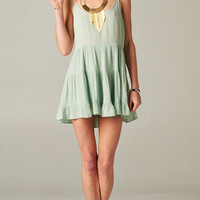 PASTEL MINT OPEN BACK BABYDOLL TIERED DRESS