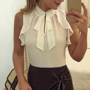 MUQGEW Women Sexy Chiffon top Retro Sleeveless Blouses Ladies Formal Ruffles Bandage Sleeveless Blouse Pullover Tops Shirt