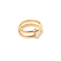 FOREVER 21 Faux Gemstone Midi Ring Gold/Clear One