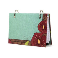Deep red poppies index card binder with matching tabbed divider 343