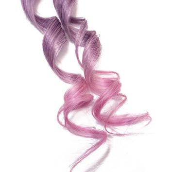 Pastel Purple Pink Lavender Pink Dip Dye Clip in Human Hair Extensions Kawaii