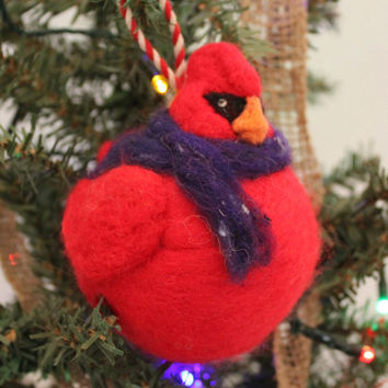 Needle Felted, Wet Felted, Cardinal Ornament