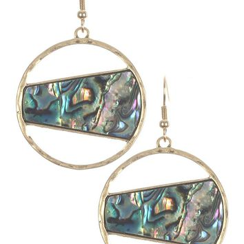 Mulit Color Oyster Shell Finish Cutout Round Metal Earring