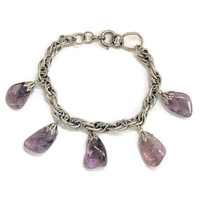 Amethyst Charm Bracelet, On Silver Tone Double Link Chain, February Birthday Gift